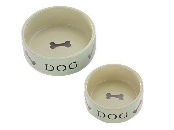 Eetpot aardewerk hond crème + motief been 16cm