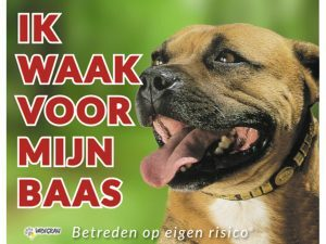 Waakbord foto hond Staffordshire Bull NL