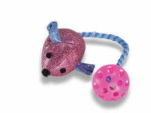 Speelgoed kat muis met rekkerbal roze 7cm