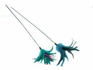 Speelgoed kat hengel groene pluim 50cm