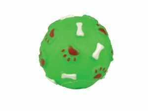 Speelgoed hond vinyl pieper bal groen 7cm