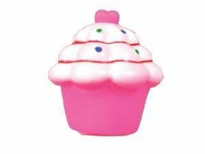 Speelgoed hond vinyl pieper cupcake roze 8cm