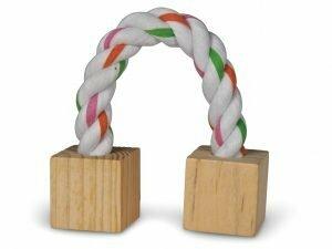 Speelgoed knaagdier hout blokken & koord 20cm