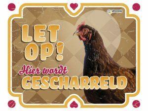 Waakbord foto S kip vintage 2 NL