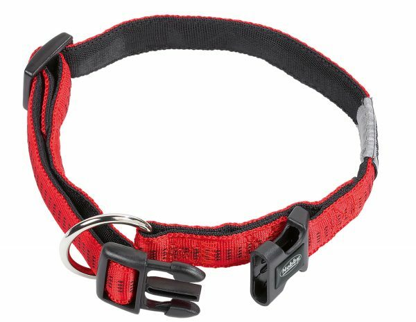 Halsband hond nylon Soft Grip rood 25mmx40-55cm