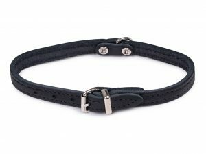 Halsband geolied leder zwart 32cmx12mm XS