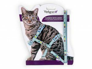Harnas+Leiband Kitty Cat blauw 15-22/30-32cm+120cm