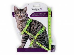 Harnas+Leiband KittyCat groen15-22/30-32cm+120cm