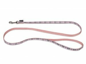 Leiband hond nylon Schotse Ruit roze 120cmx10mm S