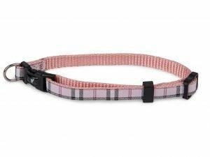 Halsband nylon Schotse Ruit roze 13-20cmx10mm XS
