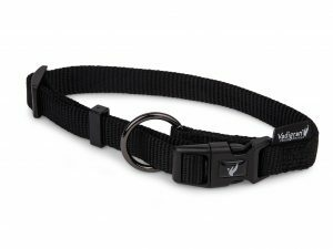 Halsband Classic Nylon zwart  25-40cmx15mm S-M